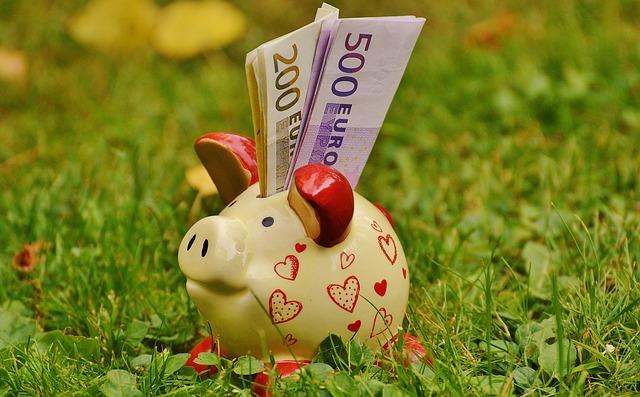 piggy bank, money, dollar bill